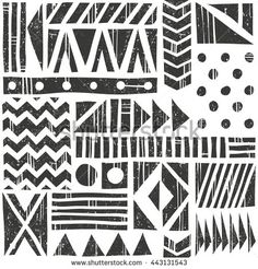 Vector seamless tribal pattern. Abstract background with different geometric…