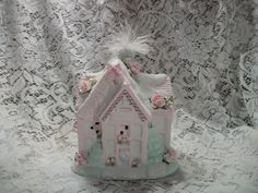 Shabby Chic style lighted Christmas village house
