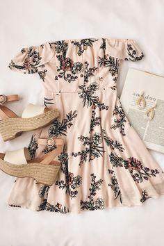 9cfeced15d3 Cute off-the-shoulder pink floral dress.  minidresses  shortdresses   floraldress