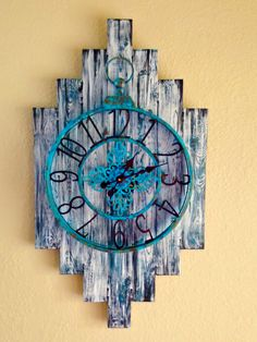 Rustic Southwestern Clock.  Made with old boards and a clock that has been repurposed. Painted to accommodate my decor.