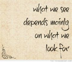 What we see depends mainly on what we look for