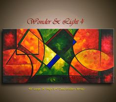 rectángulo de pintura abstracta moderna pintura 48 x 24 rojo