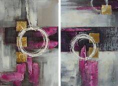 Un jour, une toile.... le 03 décembre 2014  Le gris et le mauve sont une tendance déco très en vogue en cette fin d'année. Craquez vous pour ce diptyque abstrait avec des effets or entièrement peint à la main ? Véritable huile sur toile. Composition de 2 éléments de 50/75 cm : 99,90 €.  http://www.peintures-sur-toile.com/diptyque-abstrait-gris-mauve-xml-244_302-824.html