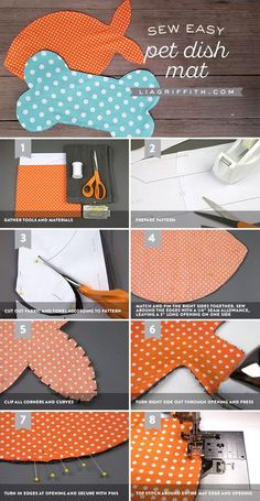 DIY Pet Dish Mat Template and Tutorial Pet Food Dish Mat The post DIY Pet Dish Mat Template and Tutorial appeared first on Katzen. Easy Sewing Projects, Sewing Projects For Beginners, Sewing Crafts, Diy Projects, Dog Crafts, Animal Crafts, Diy Pour Chien, Diy Pet, Designer Dog Collars