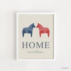 Dala Horse - Home sweet home poster - Printable - Scandinavian design - Wall art - Digital file - 8x10 INSTANT DOWNLOAD