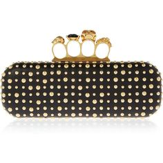 Alexander McQueen Long Knuckle studded leather box clutch ($2,325) ❤ liked on Polyvore