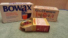 MIXED LOT Paraffin Household Gulf Wax 1lb packages - Bowax  ber nardin snap lids #Unbranded
