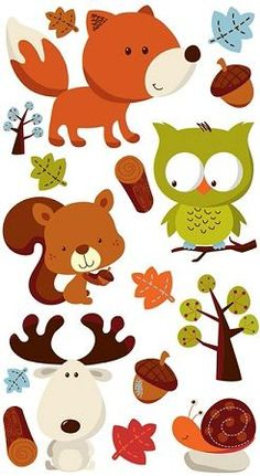 Tattoo ideas BOTH - The kids love stickers - anything kid friendly is fun. (this image is just a place holder essentially) Baby Scrapbook, Scrapbook Stickers, Scrapbook Pages, Woodland Animals Theme, Forest Animals, Happy Birthday Printable, Owl Clip Art, Forest Mural, Cross Stitch Supplies