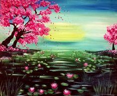 Cherry Blossom Pond at La Piazzetta Cafe II #TEAMLI - Paint Nite Events