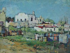 Houses on a hillside, Bo-Kaap - Gregoire Boonzaier Landscape Art, Landscape Paintings, Landscape Pictures, Illustrations, Illustration Art, South Africa Art, Frida Art, Building Painting, South African Artists