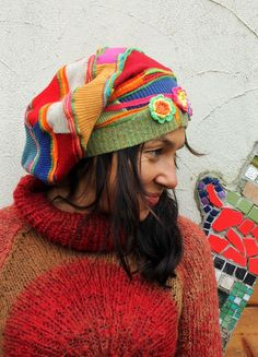 89911f52971 Crazy patchwork ribbings recycled slouch hat beanie hat. Made from recycled  wool sweaters ribbings.