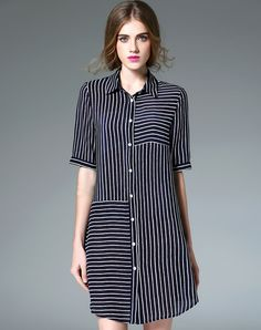 #AdoreWe #VIPme Shirt Dresses - Designer Fantiow Dark Blue Silk Striped Mini Shirt Dress - AdoreWe.com