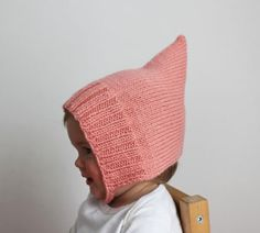Toddler Pixie Bonnet, Baby Pixie Bonnet - Baby maglia cappello, Toddler Knit Hat, cappello bambino rosa