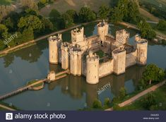 Bodiam Medieval Castle (aerial View). East Sussex, England, Great ...