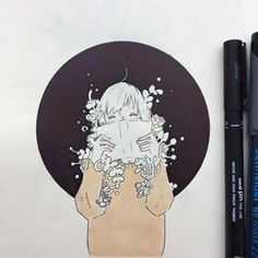 隠す隠す~ Double exposure is magic ✨ Kawaii Drawings, Cute Drawings, Pretty Art, Cute Art, Marker Art, Aesthetic Art, Art Sketchbook, Cartoon Art, Art Inspo