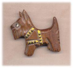 Vintage Wooden Scottie w/Harness