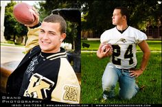 football player's high school senior photos