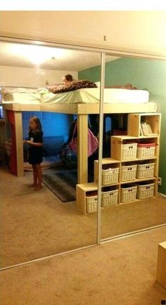 Awesome Cool Loft Bed Design Ideas and Inspirations 61 is part of Diy loft bed This is Awesome Cool Loft Bed Design Ideas and Inspirations 61 image, you can read and see another amazing image ideas - Cool Loft Beds, Loft Bunk Beds, Bunk Beds With Stairs, Kids Bunk Beds, Diy Bed Loft, Loft Bed Stairs, Queen Loft Beds, Adult Loft Bed, Bunk Rooms