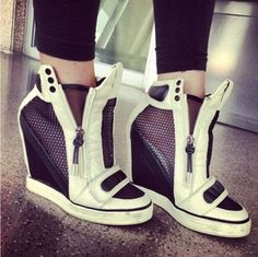 Womens Velcro Platform Wedge Heel Athletic High Heels