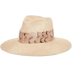 Eugenia Kim Emmanuelle feather-trimmed straw sunhat (4.369.475 IDR) ❤ liked on Polyvore featuring accessories, hats, beige, eugenia kim hats, wide brim hat, feather hat, summer beach hats and straw fedoras