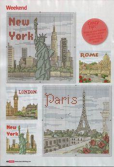 Cross Stitch Crazy 181 (October - Take a Break - London, Paris, Rome & New York Cross Stitch House, Cross Stitch Charts, Cross Stitch Designs, Cross Stitch Patterns, Cross Stitching, Cross Stitch Embroidery, Embroidery Patterns, Crochet Cross, Filet Crochet