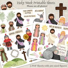 Digital Easter Printable for kids, Christian Easter DIY Stickers, Jesus Resurrection Holy Week cut outs bulletin board Sunday School teacher
