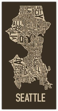 Seattle neighborhood print in brown.