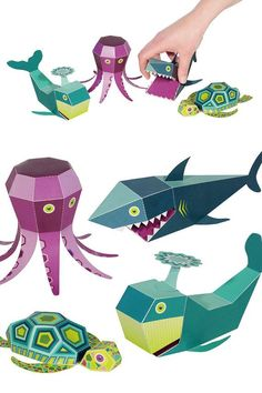 Sea Animals Paper Toys  4 Sea Animals  DIY Papercraft by pukaca