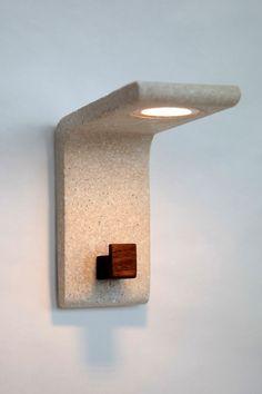 Extrude wall lamp w/walnut hook, tung shape lighting, LED, lights, concrete