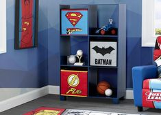 Kids' favorite DC Comics Justice League heroes—Batman, Superman, Wonder Woman and Flash—come to rescue bedtime on this super-cool Justice League Upholstered Twin Bed from Delta Children. This action-packed kids' twin bed features a headboard adorned with colorful graphics of the super hero team and a footboard with 3D