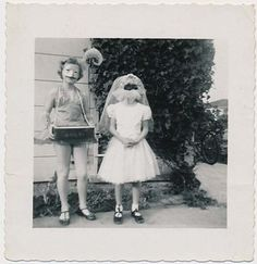 Vintage Halloween Photograph ~ Cigarette Girl and Masked Bride Costumes * Circa, 1950's