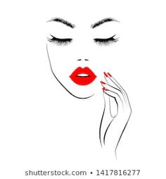 Beautiful Girl Face Red Lips Lush stockvector (rechtenvrij) 1121613893 Girl Face, Woman Face, Beauty Logo, Beauty Art, Red Manicure, Beauty Salon Decor, Face Illustration, Red Lips, Pink Lips