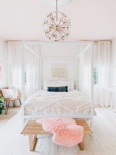 OHH!! - SO VERY PRETTY IN GORGEOUS PINK & WHITE!! - LOVE THE LIGHT FITTING, SHEER DRAPES, AWESOME SEAT WITH CUSHIONS, (AT THE BED END) & LUSCIOUS BEDDING!! ⚜