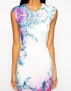ASOS Body-Conscious Dress in Mirror Floral Print $60.64