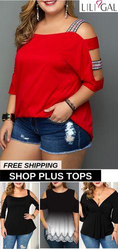 Plus Size Fashion : Plus Size Summer Tops For Curvy Women Plus Size Summer Tops, Plus Size Tops, Plus Size Women, Women's Plus Size Shorts, Plus Size Shirts, Plus Size Outfits, Curvy Fashion, Plus Size Fashion, Girl Fashion