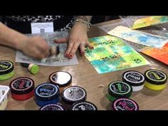 Dyan demos brayered paint backgrounds at CHA 2015, including how to make easy black background journal pages - Part 3
