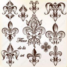 40154048-Collection-of-vector-royal-fleur-de-lis-for-design-Stock-Photo.jpg (1300×1300)