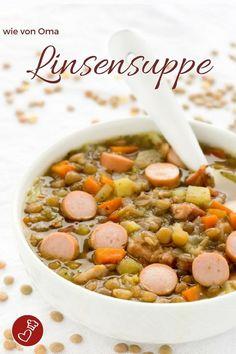 Suppen-Rezepte, Linsen-Rezepte - leckere Linsensuppe wie von Oma auf dem Foodblog von herzelieb. Dieses Rezept ist kinderleicht nachzukochen. #linsen #suppe #oma #rezept #hausmannskost #herzelieb