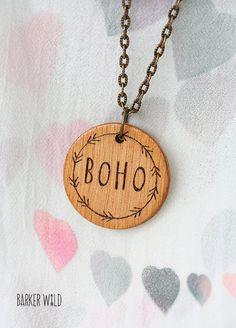 Boho wood pendant gypsy fashion hippie necklace by Barker Wild at #barkerwild.com (also on etsy). Copyright Karen Barker #BarkerWild