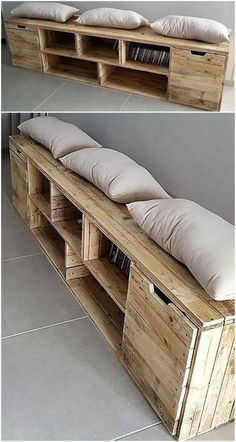 Here we are bringing to you an attractive and multifunctional craft made of reclaimed wood pallet slats for you. Thispallet entryway table bench is simply comprised of five wooden blocks for storage, two-door cabins and a large wooded area with cushions for comfortable seating.  #pallets #woodpallet #palletfurniture #palletproject #palletideas #recycle #recycledpallet #reclaimed #repurposed #reused #restore #upcycle #diy #palletart #pallet #recycling #upcycling #refurnish #recycled…
