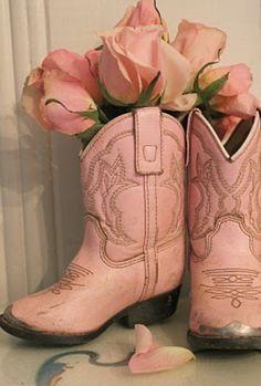 Pink little girl cowboy boots