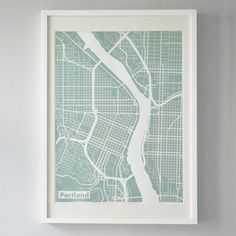 Love these mint silk-screen printed map of downtown Portland. #pdx