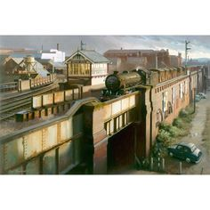 Fine art print by Rob Rowland GRA. Weekday Cross Junction on the Great Central Railway in Nottingham. passes with a freight train in Train Posters, Railway Posters, Heritage Railway, Old Train Station, Henri Rousseau, Steam Railway, Train Art, Fabian Perez, Train Pictures