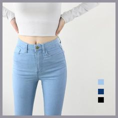 1f44f7d648965 High Waist High Elastic Jeans Women Hot Sale American Style Skinny Pencil  Denim Pants Fashion Pantalones