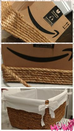 diy by. diy by me! All I needed was a cardboard box, some rope, a hot glue gu. - diy by. diy by me! All I needed was a cardboard box, some rope, a hot glue gu… Glue Gun Crafts, Rope Crafts, Diy Home Crafts, Diy Home Decor, Diy Glue, Upcycled Crafts, Kids Crafts, Glue Gun Projects, Neon Crafts