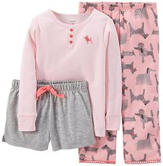 Carters Baby Girls 3 Piece Print PJ Set Baby  Dog  24 Months ** To view further for this item, visit the image link.