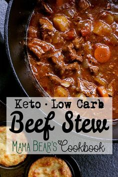 Melt in your mouth beef, loaded with veggies and packed with flavour, this Low Carb Beef Stew is made in one pot, one afternoon, and is one tasty dish! Stew Meat Recipes, Keto Crockpot Recipes, Low Carb Recipes, Cooking Recipes, Stewing Beef Recipes, Low Carb Soups, Low Carb Beef Stew, Keto Dinner, Low Carb Keto