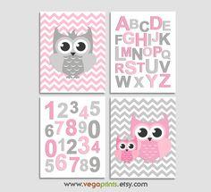 Pink and grey owl nursery Art Print Set Kids room by SednaPrints