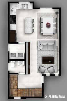 Modern corridor, hallway & stairs by cdr constructora modern Small Modern House Plans, Modern House Design, Sims House Plans, House Floor Plans, Home Design Plans, Plan Design, Design Ideas, House Construction Plan, Apartment Floor Plans