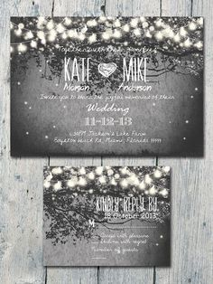 Romantic Garden and Night Light Wedding Invitation and Reply Card Set - Wedding Stationery on Etsy, $1.35